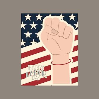 Bonne fête du travail carte avec poing de la main et usa flag