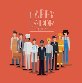 Bonne fête du travail carte avec les travailleurs