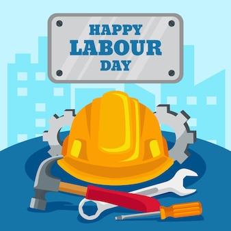 Bonne fête du travail avec chapeau et outils