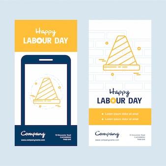 Bonne fête du travail design avec vecteur de thème jaune