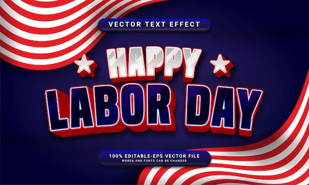 Bonne fête du travail effet de style de texte modifiable sur le thème de la célébration de la fête du travail