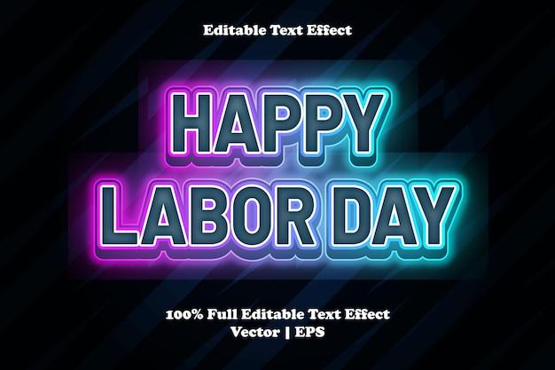 Bonne fête du travail effet de texte modifiable