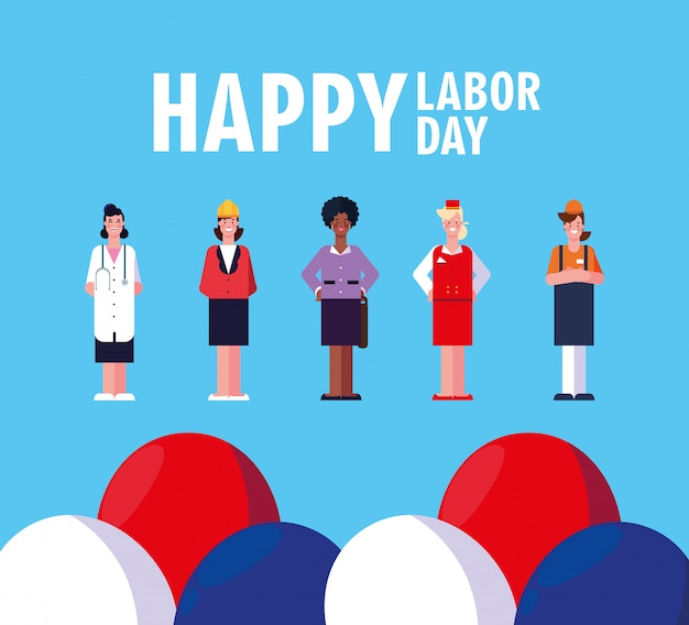Bonne fête du travail avec des femmes professionnelles