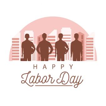 Bonne fête du travail avec la silhouette des travailleurs sur la ville