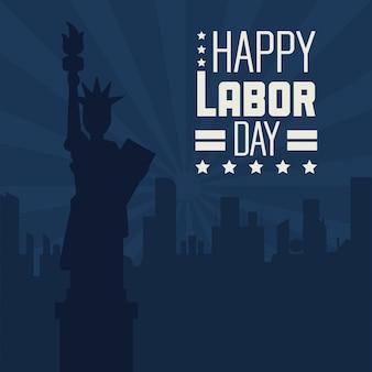 Bonne fête du travail avec statue de la liberté et de la ville
