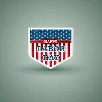 Bonne fête du travail style de bouclier américain. illustration vectorielle