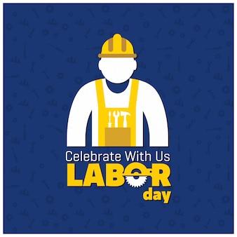 Bonne fête du travail avec un travailleur sur fond bleu