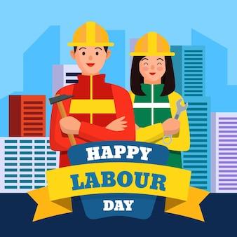 Bonne fête du travail avec les travailleurs de la construction