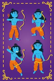 Bonne fête de dussehra avec les personnages bleus des seigneurs ramas