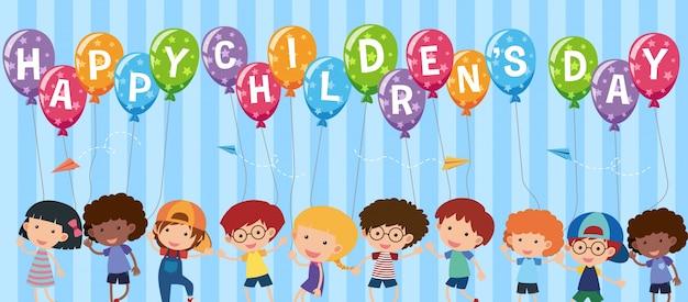 Bonne fête des enfants avec des enfants heureux
