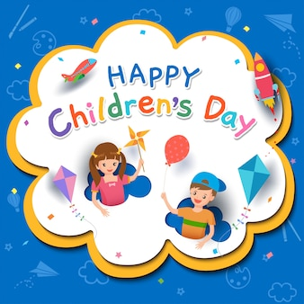 Bonne fête des enfants avec un garçon et une fille jouant des jouets