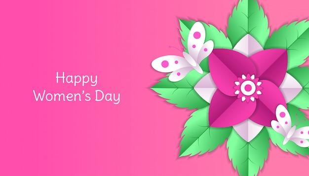 Bonne fête des femmes avec fleur, feuille, papier papillon découpé décoration florale 3d en couleur rose et blanc