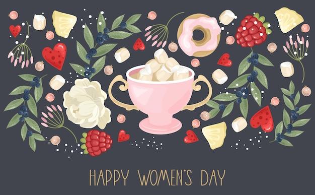 Bonne fête des femmes avec fond de fleurs dessinées à la main