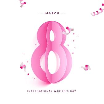 Bonne fête des femmes. papier découpé rose huit et rubans.
