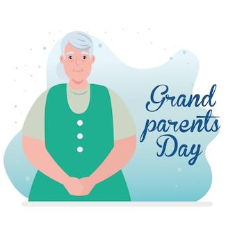 Bonne fête des grands parents avec la conception d'illustration mignonne grand-mère