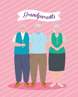 Bonne fête des grands parents avec la conception d'illustration de personnes âgées mignonnes