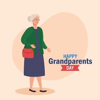 Bonne fête des grands parents avec la conception d'illustration vectorielle grand-mère mignonne