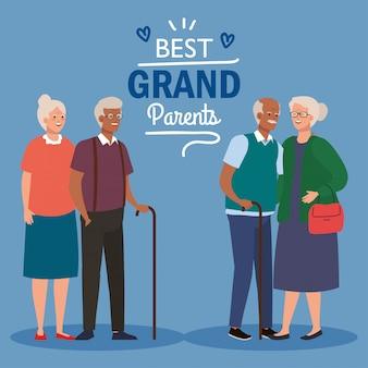 Bonne fête des grands parents avec des couples plus âgés mignons vector illustration design
