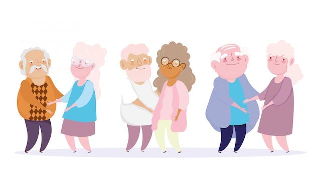 Bonne fête des grands-parents, dessin animé grand-père et grand-mère personnages ensemble
