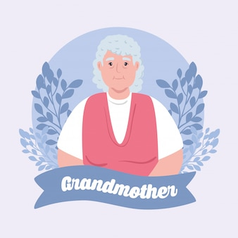 Bonne fête des grands parents avec grand-mère mignonne et décoration de feuilles