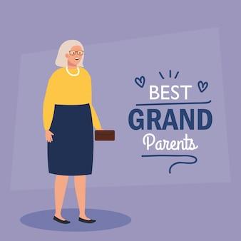 Bonne fête des grands parents, avec grand-mère mignonne et décoration de lettrage des meilleurs grands parents vector illustration design