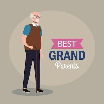 Bonne fête des grands parents, avec grand-père mignon et décoration de lettrage des meilleurs grands parents vector illustration design