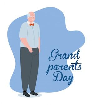 Bonne fête des grands parents avec grand-père mignon