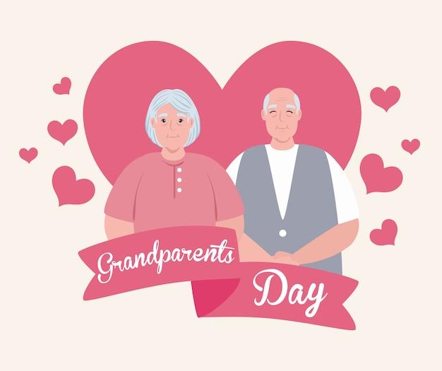 Bonne fête des grands parents avec joli couple de personnes âgées et décoration de coeurs