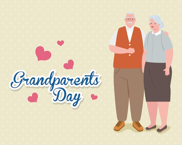 Bonne fête des grands parents avec joli couple plus âgé et conception d'illustration de décoration de coeurs