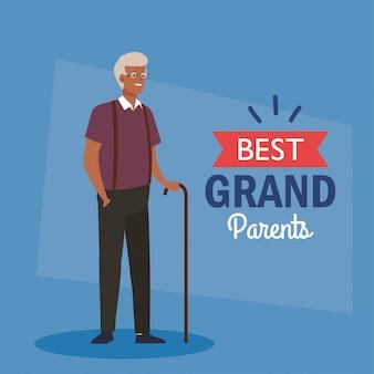 Bonne fête des grands parents, avec joli grand-père afro et décoration de lettrage des meilleurs grands parents vector illustration design