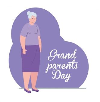 Bonne fête des grands parents avec la mignonne grand-mère