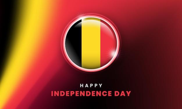 Bonne fête de l'indépendance de la bannière de la belgique avec le cercle du drapeau 3d belge