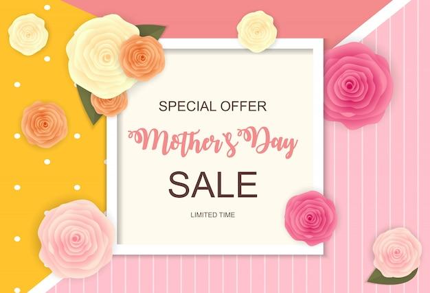 Bonne fête des mères, bannière de vente mignonne
