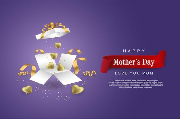 Bonne fête des mères avec boîte-cadeau ouverte