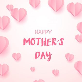 Bonne fête des mères avec des coeurs roses