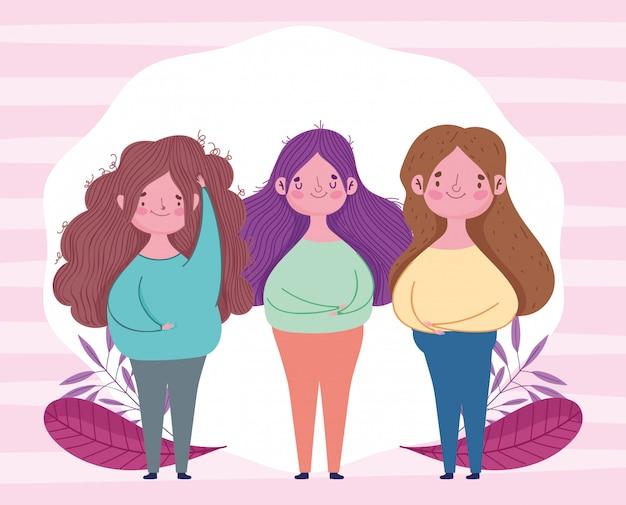 Bonne fête des mères, décoration de feuillage de personnages femmes