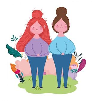 Bonne fête des mères, dessin animé femmes fleurs feuilles dans l'herbe