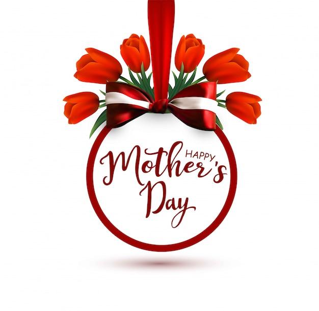 Bonne fête des mères. étiquette avec ruban