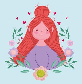 Bonne fête des mères, femme avec décoration de fleurs de dessin animé de cheveux