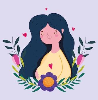 Bonne fête des mères, femme fleur feuillage coeurs amour carte de décoration