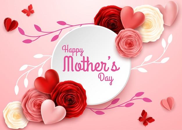 Bonne fête des mères avec des fleurs roses et des coeurs
