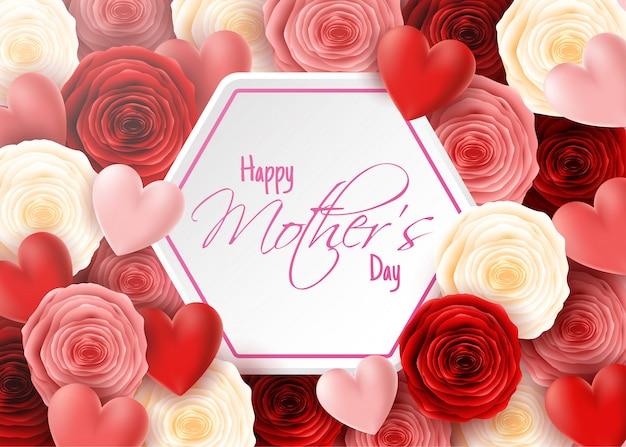 Bonne fête des mères avec des fleurs roses et fond de coeurs