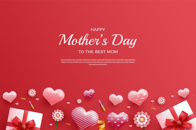 Bonne fête des mères sur fond rouge et avec coffret cadeau