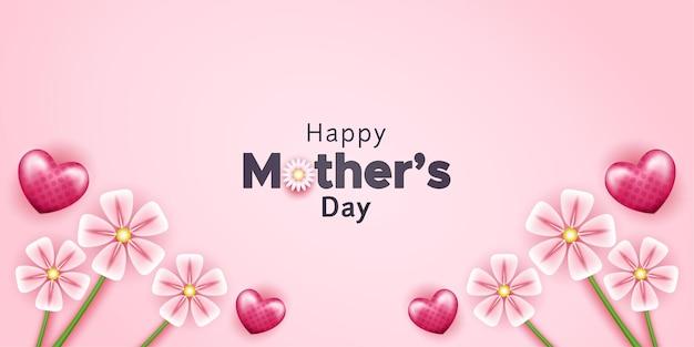 Bonne fête des mères avec des formes de foyer et des fleurs réalistes