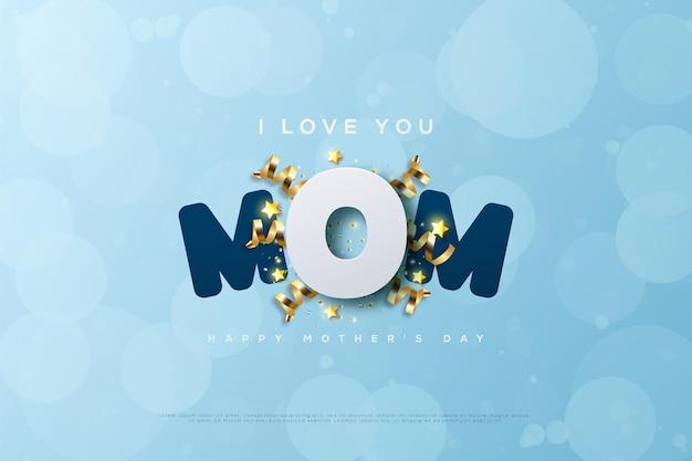 Bonne fête des mères avec une illustration de la lettre o festive.
