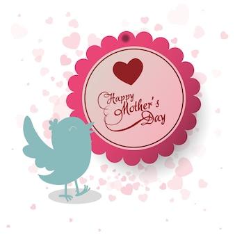 Bonne fête des mères invitation oiseau coeur décoration étiquette
