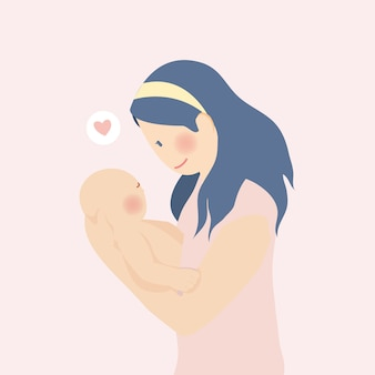 Bonne fête des mères, mère embrasse bébé câlin plein d'amour avec bannière et fond de fleur de pêche rose