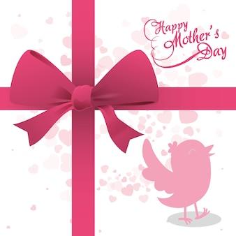 Bonne fête des mères oiseau ruban décoration arc
