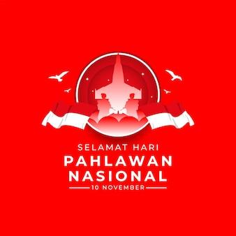 Bonne fête nationale des anciens combattants modèle de bannière indonésie agitant le drapeau