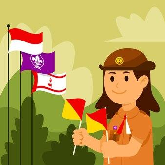 Bonne fête nationale de pramuka. organisation scoute en indonésie.